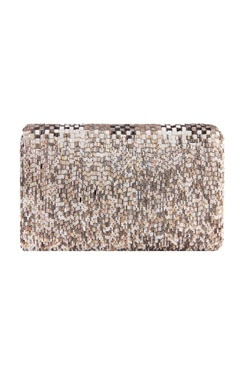 silver rectangle bugle bead clutch