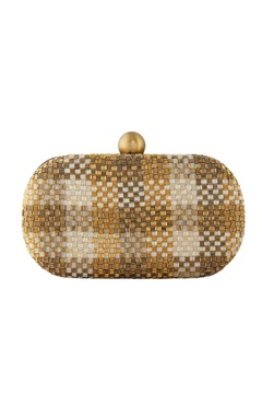Lovetobag Gold japanese bead embellished clutch