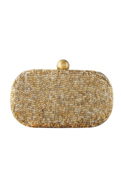 Gold japanese bead embellished clutch