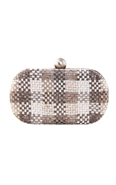Lovetobag silver oval clutch with bugle bead embellishments