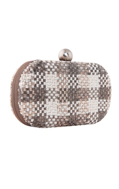 Silver oval clutch with bugle bead embellishments