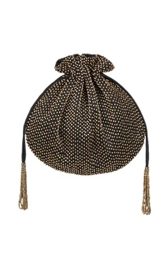 Lovetobag Black bead & hand embroidered potli