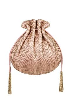 Lovetobag Blush pink metal beads embroidered potli