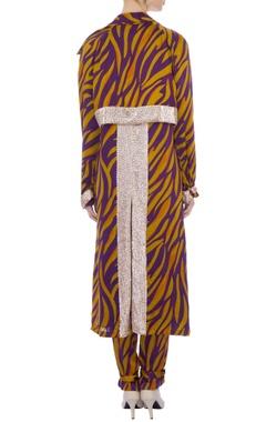 mustard & purple zebra stripe cape