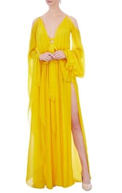 Egg yolk yellow cold shoulder dress