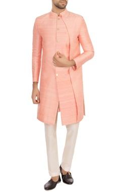 baby pink raw silk solid kurta