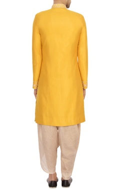 yellow & beige raw silk embroidered sherwani