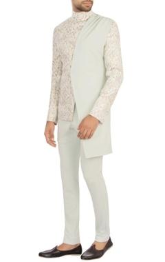 white jacquard nehru jacket