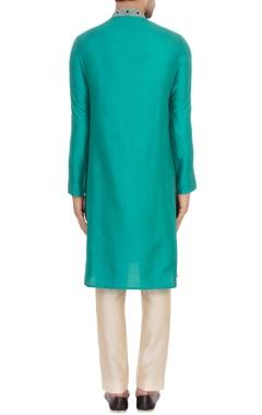 aqua green spun silk embroidered kurta