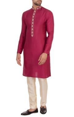 maroon spun silk embroidered kurta
