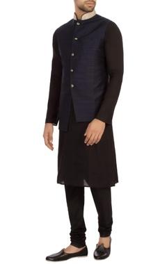 navy blue raw silk solid nehru jacket