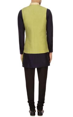 olive green dupion silk solid nehru jacket