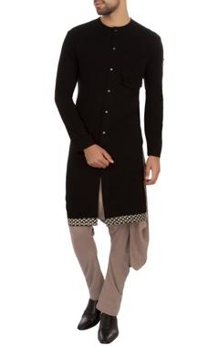 black organic cotton hand-woven kurta