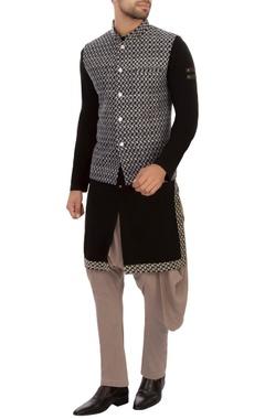 blue all-over embroidered nehru jacket