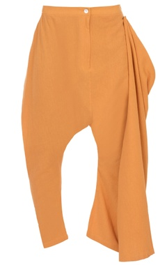 orange organic cotton asymmetric trousers