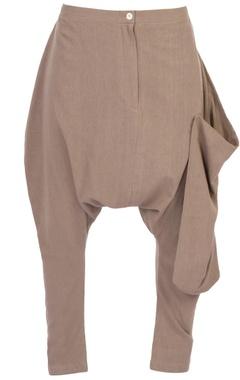 beige organic cotton asymmetric trousers