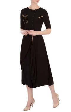 Vivek Kumar Black double georgette embroidered asymmetric blouse with pants