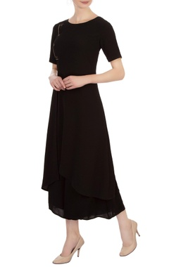 Vivek Kumar Black georgette asymmetric tunic with pants