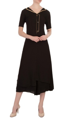 Vivek Kumar Black double georgette embellished tunic with pants