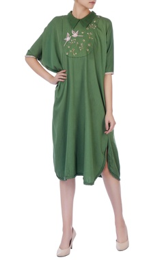 Kale green cotton silk kaftan