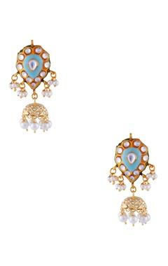 Firoza gold plated & copper pearl jhumki