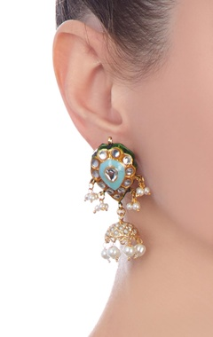 Firoza gold plated & copper pearl jhumki