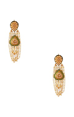 Maisara Green gold plated & copper pearl jhumki