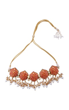Maisara Red gold plated & copper pearl choker