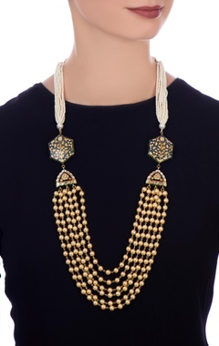 Indigo gold plated & copper pearl necklace