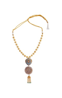 Firoza gold plated & copper pearl necklace
