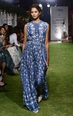 Blue muslin jumpsuit dress