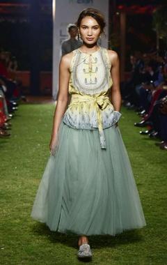 Sage green chanderi silk blouse & net skirt
