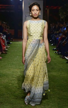 Anita Dongre Yellow modal silk printed saree with chanderi blouse