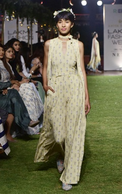 Anita Dongre Pale yellow recycled poly printed jumpsuit with jacket