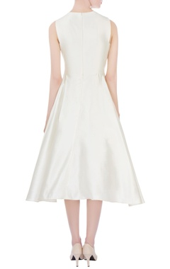 white czar silk embroidered midi dress