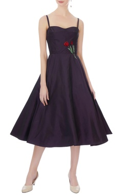 navy blue taffeta silk embroidered midi dress
