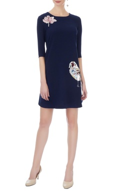 navy blue micro embroidered short dress