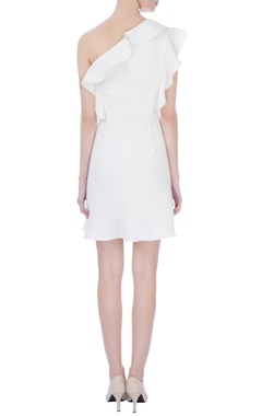 white micro embroidered short dress