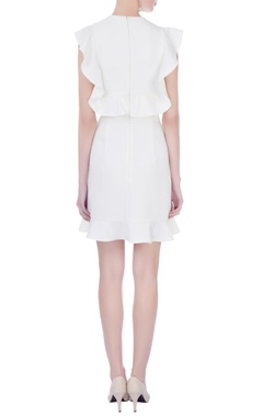 white moss crepe embroidered skater dress