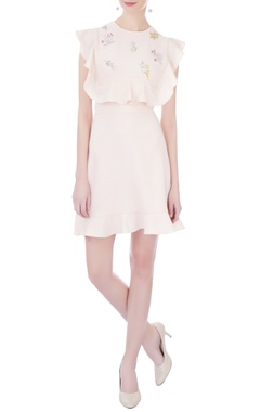 pastel pink moss crepe embroidered skater dress