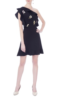 Navy blue moss crepe embroidered skater dress