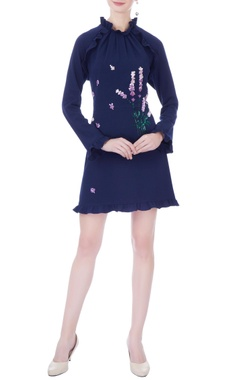 navy blue moss crepe embroidered short dress