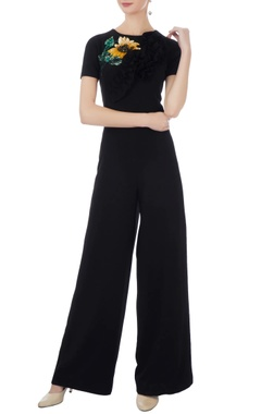 black moss crepe embroidered jumpsuit