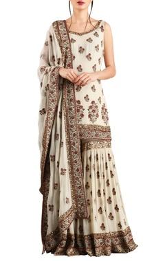 Nakul Sen Off white chiffon floral sequin embroidered sharara & kurta set
