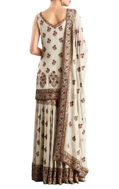 Off white chiffon floral sequin embroidered sharara & kurta set