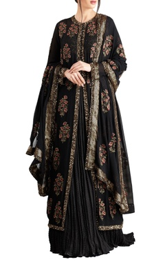 Nakul Sen Black chiffon boota & sequins work jacket with lehenga & dupatta