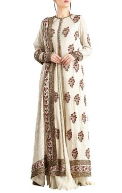 Nakul Sen Off-white chiffon jaal & sequins work jacket & lehenga set