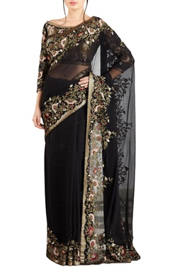 Nakul Sen Black & yellow chiffon bead & sequin embellished floral sari with blouse