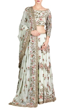 Mint green chiffon floral embroidered lehenga set
