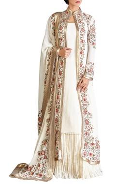 off white & pink chiffon floral jacket with kurta lehenga & dupatta